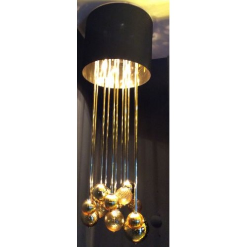 GIOVE CHANDELIER 4L AMBER DARK BROWN LAMPSHADE